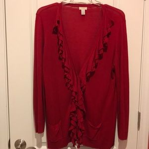 Red cardigan ruffle sweater from Chico's